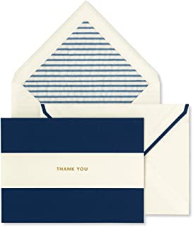 Kate Spade New York Thank You Card Set of 10 with Blank Interior and Envelopes (Navy Stripe)