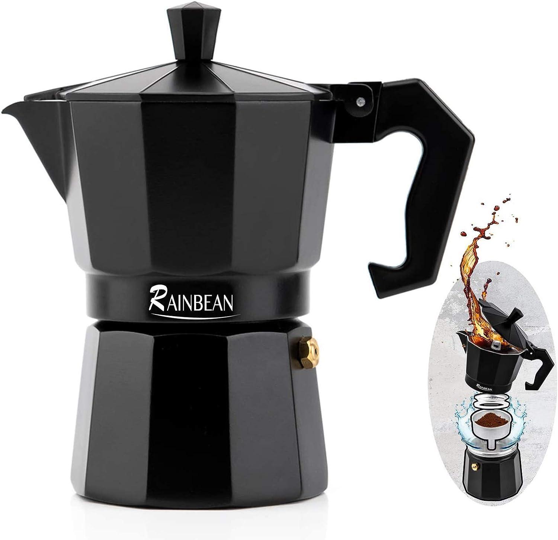 RAINBEAN Moka Express Cafetera Italiana Espresso 3 Tazas/150ml, Aluminio, Para Cafetera Moka Clásica Mocha Cappuccino Macchiato (Apta Para Todo Tipo de cocinas Salvo Inducción)
