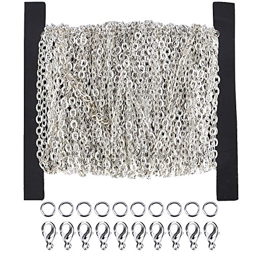 Ucatcher 39 Feet Curb Chain Necklace Bulk Cable 2mm Width with 30 Lobster Clasps and 100 Open Jump Rings for Jewelry Making, Silver