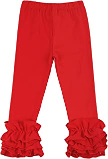 Little Girls Ankle Length Double Icing Ruffle Leggings Pants Footless Tights Elastic Waist Trousers Slacks Activewear