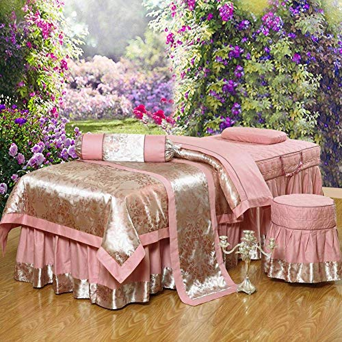 Juegos de sábanas de algodón jacquard para mesa de masaje, salón de belleza Juego de faldón para mesa de masaje Cubrecamas Sábana para falda de cama Funda de aromaterapia para...