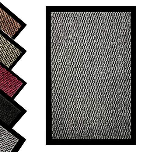 Bear & Panda - Felpudo antisuciedad para puerta – Interior y exterior antideslizante, lavable, resistente alfombra de entrada para zapatos, alfombra de entrada superabsorbente (gris, 40 x 60 cm)