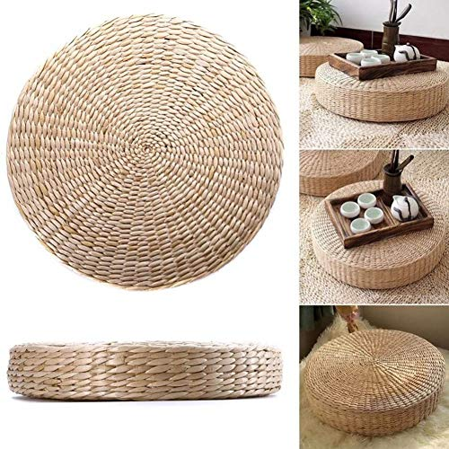 Round Straw Weave Floor Mat,Knitted Straw Flat Seat Cushion,Handcrafted Grass Cushion Pad,Japanese Pouf Tatami Chair Pad A 50x50x10cm(20x20x4inch)