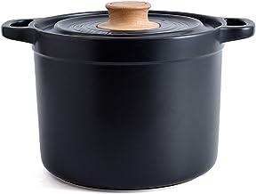 Cooking Stock Pot Household Ceramic Pot High Temperature Resistant Health Stew Pot Black Soup Casserole (Color : Multi-col...