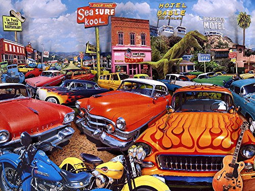 """The Jigsaw Puzzle Factory Classic Cars Motel, Bar & Drive Inn Puzzle Games for Adults and Kids Ages 12 and Up, Made in the USA, 750 Piece, Full Size is 18"""" X 24"""