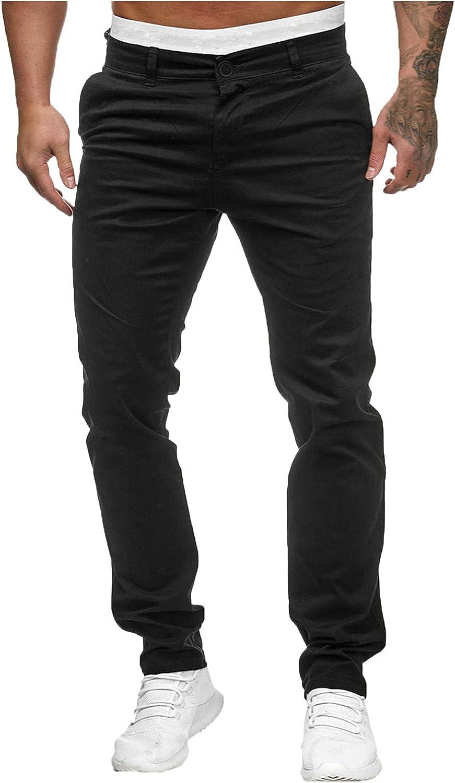 Beshion Men's Dress Pants Slim Fit Tapered Leg Casual Mid Waist Slim Pant Solid Pocket Full Length Trousers