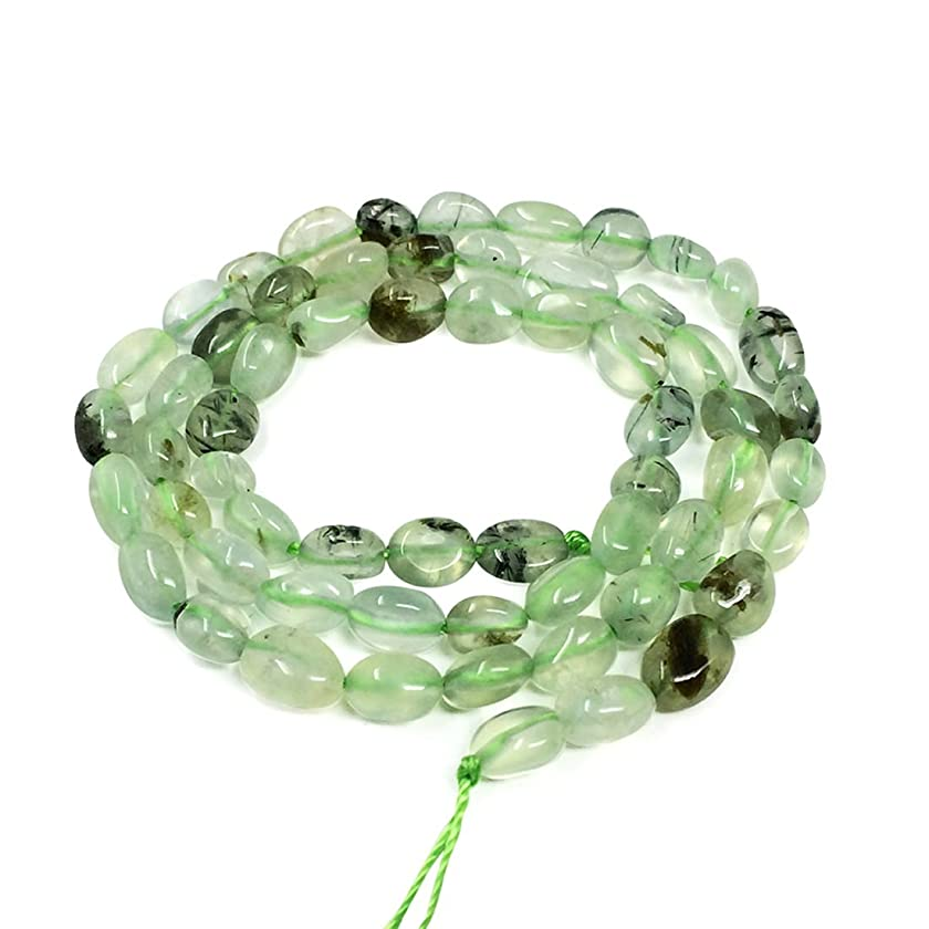 Top Quality Natural Prehnite Gemstone Center Drilled Oval Rice Stone Beads 16