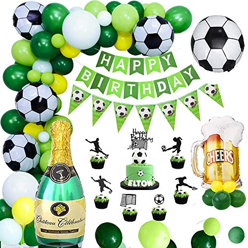 APERIL Fußball Geburtstagsdeko Jungen Luftballons Geburtstag Dekorationen Grün mit Happy Birthday Girlande Banner, Folien Luftballons and Cake Topper für Kindergeburtstag Deko, Fußballfan Themenfeier