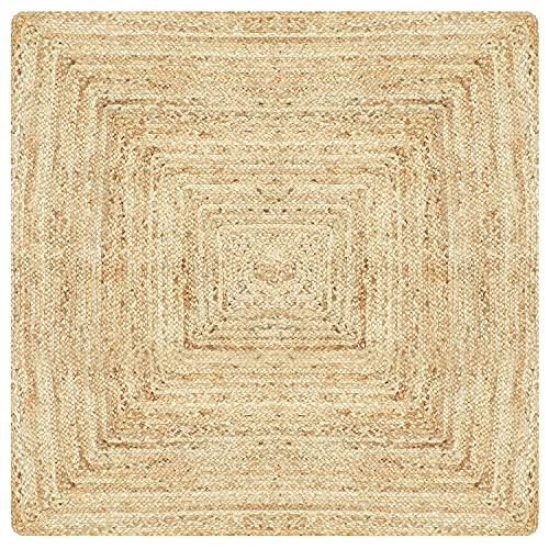 MARRAKESCH Handgewebter Jute Teppich Nora 120 x 120 cm groß   Outdoor Teppiche eckig geflochten für Garten oder Balkon   Indoor im Wohnzimmer Kinderzimmer   Mediterrane Deko für Ihre Wohnung Haus