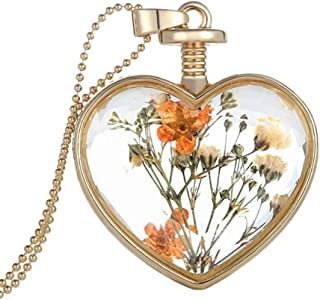 Bling Stars Dried Pressed Flower Living Memory Charms Locket Heart Pendant Necklace