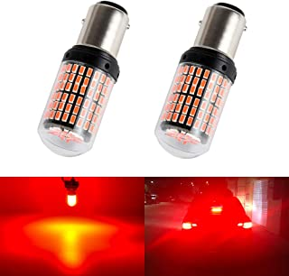 1157 BAY15D S25 1034 LED Brake Lights Bulb Stop Tail Third Lamps Red Projector Kit Replacement Bulbs Rear Wedge Plug and Play Super Bright Non Polar 3014SMD 12V 17W 1 Year Warranty 2 Pack【1797】