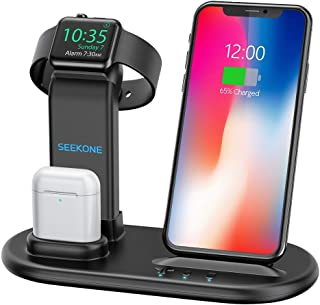 SEEKONE Wireless Charger 3 in 1 Wireless Charging Stand Dock Station for AirPods 2/1 and iWatches 4/3/2/1, Qi Fast Wireless Charger Compatible with iPhone Xs Max/XS/XR/X/8/8 Plus