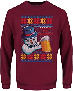 Grindstore Men's Frothy The Snowman Christmas Jumper Sweater Burgundy