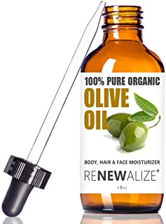 Renewalize Certified Organic Olive Oil - Dry Skin Body and Hair Moisturizer | Unrefined Extra Virgin Cold Pressed | Hot Oi...