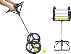 Lesmin 2 in 1 Tennis Balls Pickup Automatic Balls Receiver with Handle for Storage Adjustable Height Hold Up 55 Tennis Balls