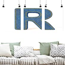 Agoza Graffiti Canvas Painting Letter R Retro Denim Style Alphabet Font Pattern with Capital R Letter Blue Jean Design Office Art Decoration 3 Panels 16x24inchx3pcs Blue Yellow