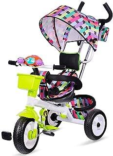 Barn trehjulingar med Canopy med Classic Bicycle Bell Småbarn Tricycle Småbarn Bike ( Color : Green )