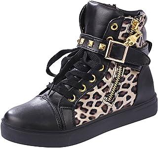 aff11a327d23a iMaySon TM pour Femme Tête de Mort High Top Sneaker Wedge à Lacets  Fermeture Éclair Increat