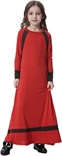 OBEEII Girl Muslim 3D Flower Applique Abaya Jilbabs Long Sleeve Hijabs Maxi Dress Full Length Clothes