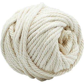 AILINDA Cuerda de algodón de macramé trenzado de 6 mm, 4 hebras para manualidades, tejer, para proyectos de pared, colgador de plantas, cuerda de tapiz, 55 yardas: Amazon.es: Hogar