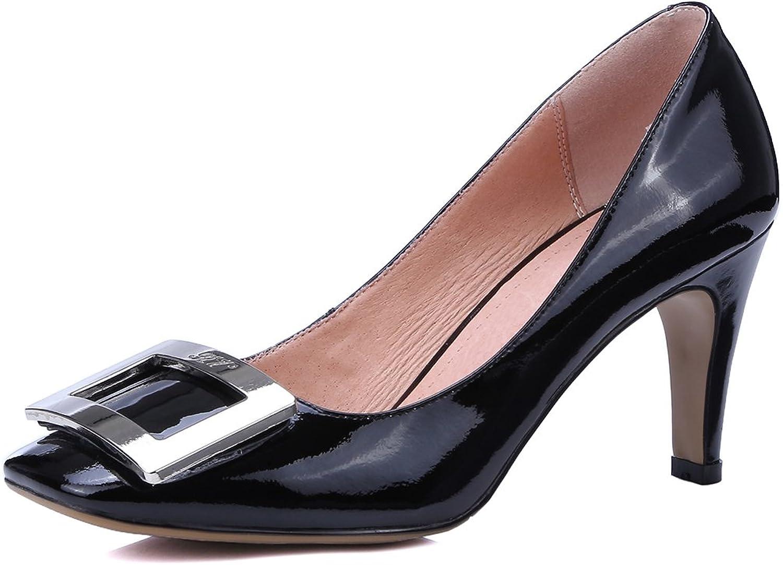 MINIVOG Women's Buckle Square Toe Kitten Heel Pump shoes