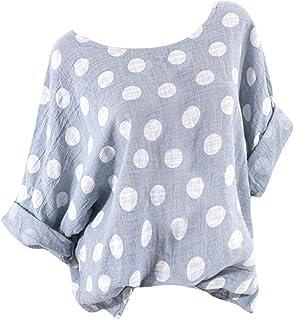 OULSEN Women's Retro Blouse Polka Dot Printed Long Sleeve Round Neck Fashion Casual Loose Tunic Top Long T-shirt Women Plus Size