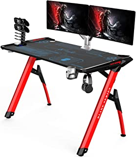 Kinsal Blade Series Gaming Style Computer Desk Office Desk Student Table PC Desk with RGB LED Lights & Cup Holder & Gamer Workstation & Headphone Hook and King Sized Mouse Pad (RGB)