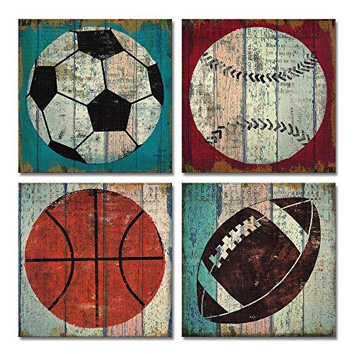 Sportdekoration für Jungenzimmer, Wandkunst, Dekoration, Fußball, Basketball, Leinwand, Fußball, Tennisball, Baseball, Poster, modernes Kunstwerk, Dekoration, 40,6 x 40,6 cm x 40,6 cm, 4 Stück