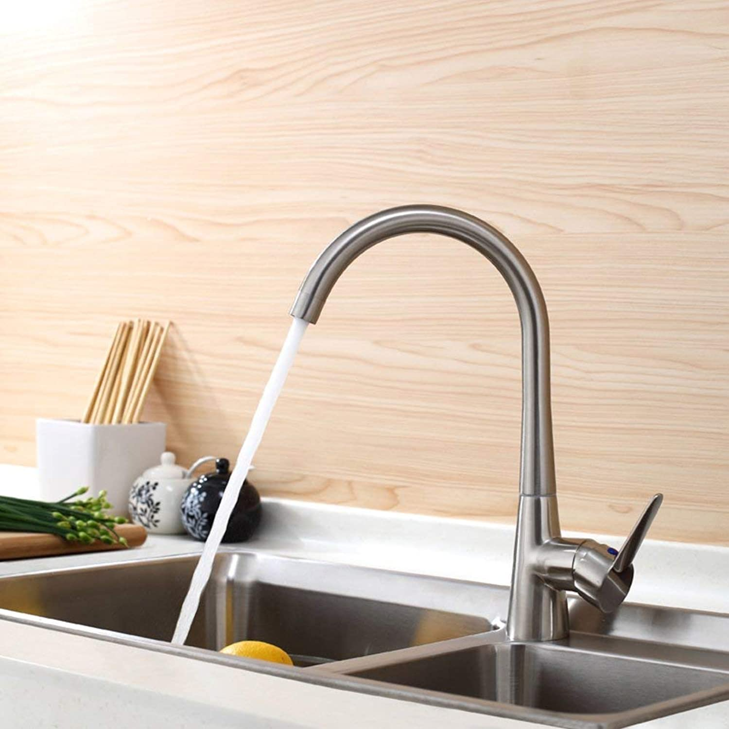 FuweiEncore Hot and cold kitchen faucet Vegetables basin faucet Tap both hot and cold Brushed faucet (color   -, Size   -)