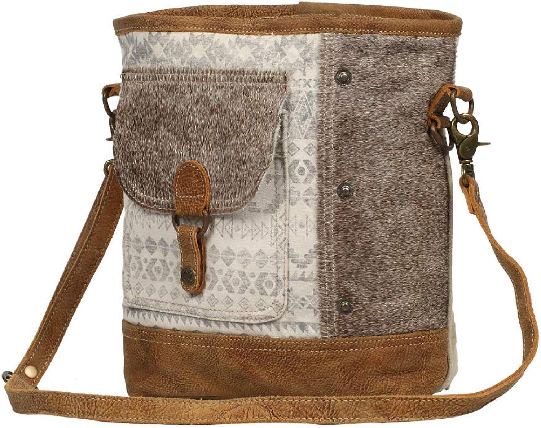Myra Bag Tribal Stripe Front Pocket Upcycled Canvas & Cowhide Leather Shoulder Bag S1232
