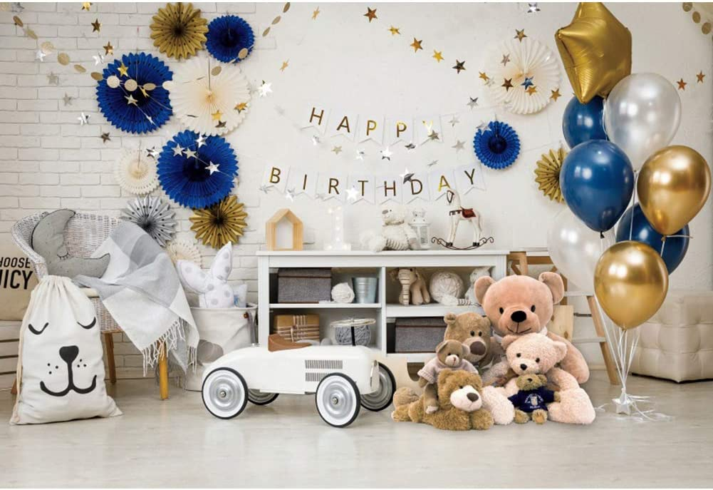 Haoyiyi 5x4ft Little Mr Onederful 1st Birthday Backdrop White Brick Wall 3D Flowers Ballons Background Photography Photo Baby Shower Banner Favors Pictures Toddler Cake Smash Wallpaper Portrait