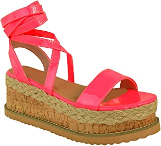93decb2eae29 Fashion Thirsty Womens Flatform Summer Wedge Sandals Espadrilles Leg Lace  Tie Up Neon Pink Party by