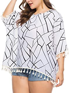 DADKA Womens Swimsuit Beach Cover Up Shirt Plus Size Bathing Suit Pinted Blouse Tops
