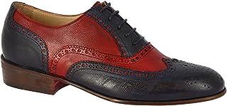 Leonardo Shoes Francesine Brogues Donna Fatte a Mano Pelle di Capra Rosso Blu - Codice Modello: Pina 037 Blu/Rosso