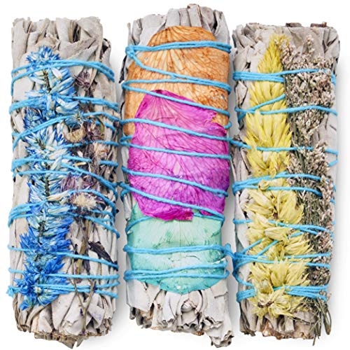 3 Pack Fire Flower Sages - White Sage Wrapped with Colorful Wild Flowers - Cleansing, Smudging, Smoke Cleanse, Home or Office