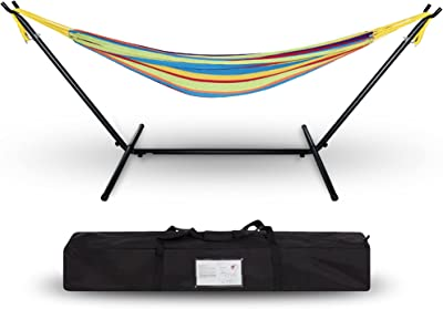 Project One Double Cotton Hammock with Space Saving Steel Stand, Tropical (450 lb Capacity - Premium Carry Bag Included) (Tropical Breeze)