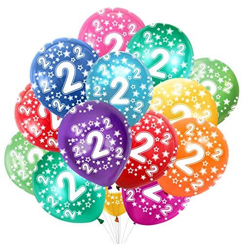 Globo Número 2, Cumpleaños Globos 2 Años, 2 Cumpleaños Decoración Globos Niño,Colores Globos Numeros 2 Fiesta Decoración para Feliz Cumpleaños,30 cm-Paquete de 30