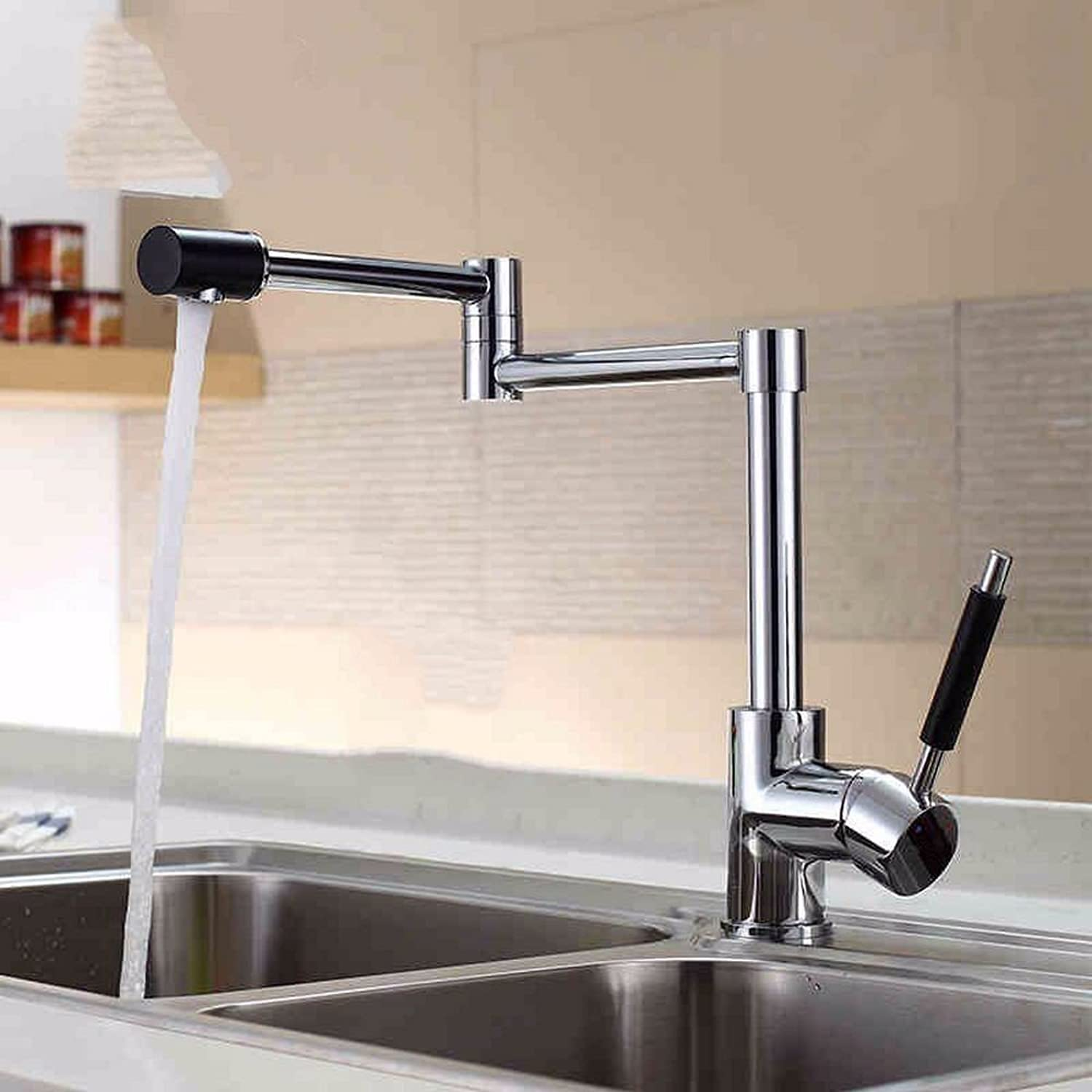 Rmckuva Kitchen Sink Taps Kitchen Faucet Modern redary Spout Mouth Kitchen Sink And Sink Single Handle Mixer Chrome-Plated Folding Brass Mixer