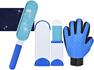 SlowTon Pet Hair Remover Brush Grooming Glove Set, Double-Sided Reusable Lint Brush and Travel Size Brush with Self-Cleani...