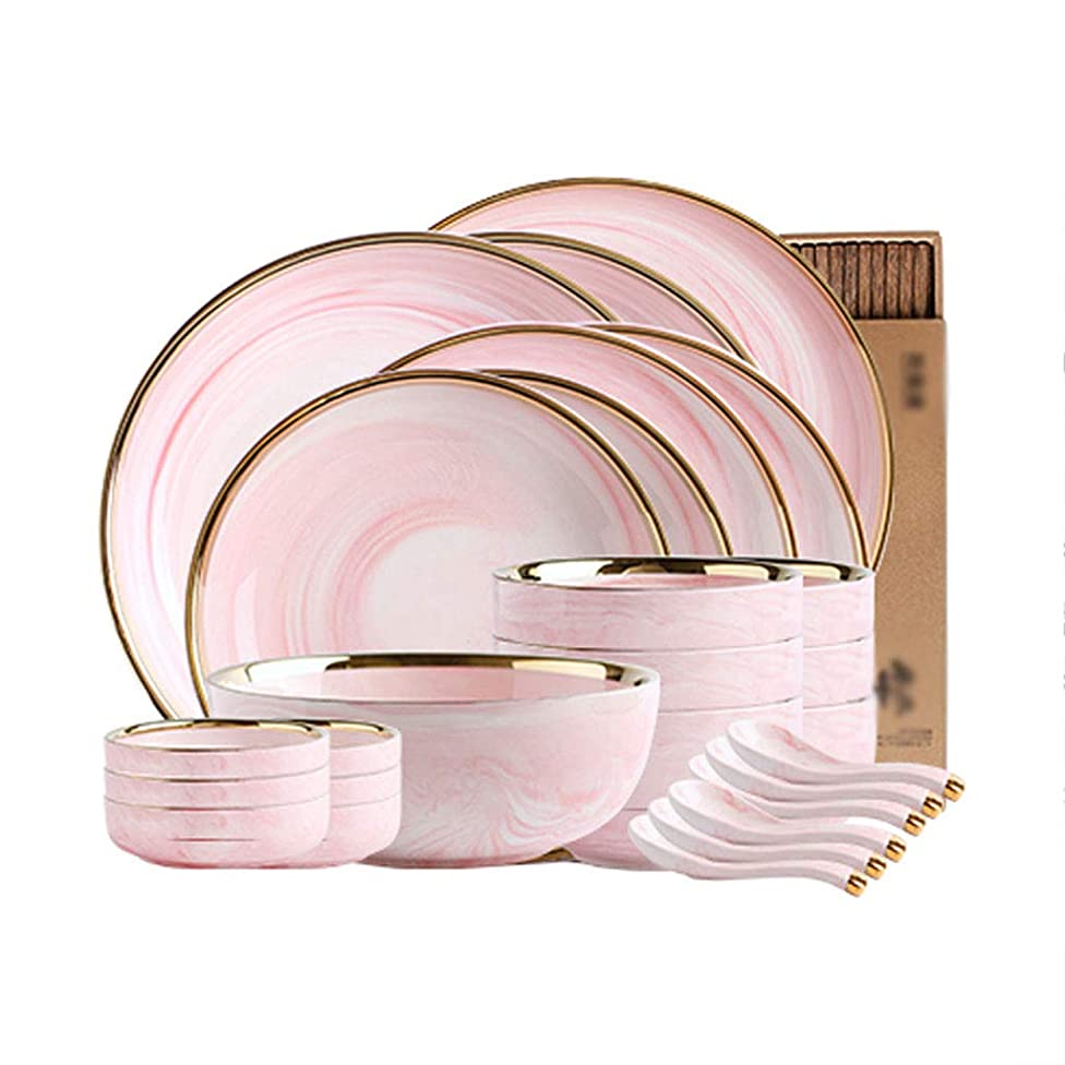 ZHAO YING Pink Golden Rim Marble Ceramics Cutlery Set Household Dinner Plate Bowl Dish Suit (Color : Pink, Size : S)