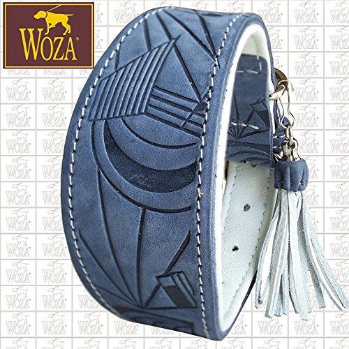 Woza Premium WINDHUND Halsband 6,8/47CM Picasso Vollleder Jeans BLAU RINDNAPPA WEIß Handmade Greyhound Collar