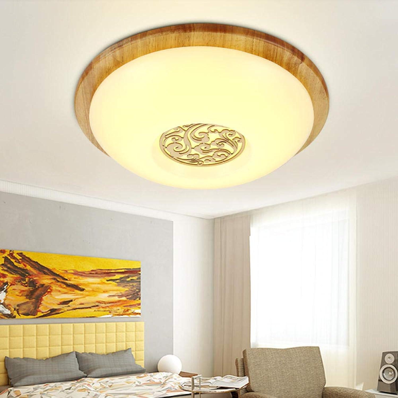 Led Deckenleuchten, Deckenleuchte Einfache solide geschnitzte runde Led Holzdeckenleuchte Drei-Farben-Segment