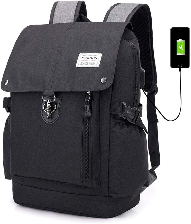 Jsfnngdv Männer Rucksack Rucksack Rucksack 17-Zoll-PC-Taschen mit USB-Lade Bergsteigen Taschen Business Freizeit Rucksack (Farbe   schwarz) B07L2KXY3V 8815b3