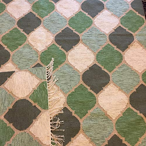 Design Teppich, 160 cm x 230 cm, handgewebt, grün - beige - Gold, für Wohn- oder Schlafzimmer, umzugfreundlich