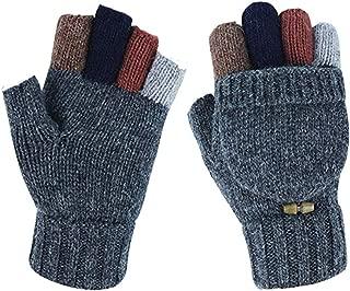 Adorrable Men's Wool Glove Mitten Fingerless Crochet Winter Warm Convertible Knitted Gloves
