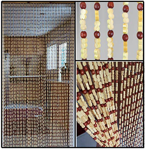 BeadedString Natural Wood and Bamboo Beaded Curtain-45 Strands-77 High--Plain Design-Bamboo and Wooden Doorway Beads-Boho Bohemian Curtain-35.5' W x 77' H-Sunshine