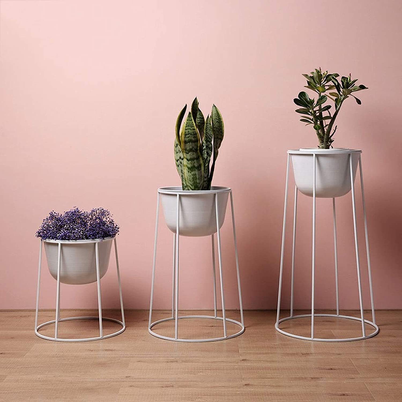 WAN SAN QIAN- Iron Flower Stand Floor Type Green Plant Display Frame Living Room Bedroom Flower Pot Shelf Flower racks (color   White, Size   41  61cm)