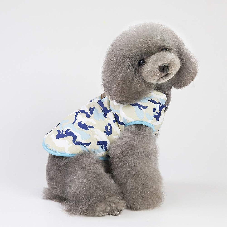 HSDDA Party Pet Costume Dog clothing autumn and winter new Teddy pet clothes new camouflage cotton vest (color   bluee, Size   M) Pet Uniform (color   bluee, Size   M)