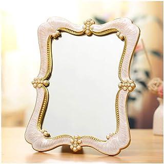 AINIYF Tabletop Mirrors Folding Beauty Vanity Mirror Desktop Portable Mirror Metal Framed European Princess Mirror (Color : White)