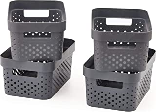 EZOWare Small Gray Plastic Bubble Baskets Shelf Storage Organizer Perfect for Storing Small Household Items - Pack of 4